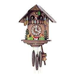 Original One Day Mechanical Movement Cuckoo Clock with Moving Deer and Rabbit in Solid Wood 12 Inch