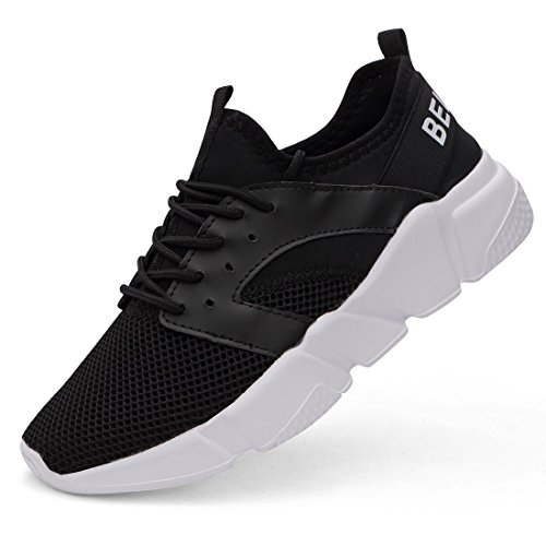 Belilent Women's Lightweight Walking Shoes Breathable Mesh Soft Sole for Casual Walk Outdoor Workout Travel Work Black/White-077-1