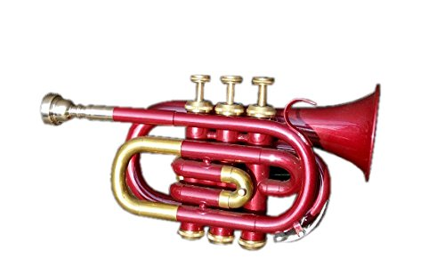 Queen Brass Pocket Trumpet Bb_Pitch Brass Made W/Case & Mp Red and Gold