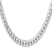"""U7 18K Gold Plated Necklace With """"18K"""" Stamp Men Jewelry 4 Colors 6MM-9MM Wide Snake Chain Necklace ,18""""-32"""""""