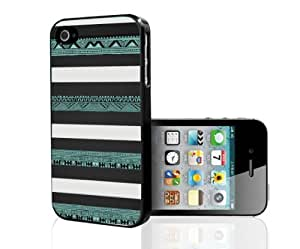 lintao diy Black, White and Teal Aztec Tribal Pattern Hard Snap on Phone Case (iPhone 4/4s)