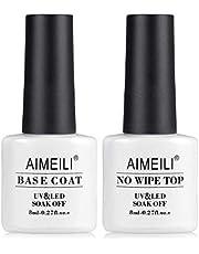 AIMEILI Soak Off UV Gel Polish Base Coat and No Wipe Top Coat Set Upgraded Formula Long Lasting Mirror Finish Gel Polish 2x8ml