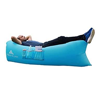 Hikenture (TM) Inflatable Lounge with 1 Opening Hangout Beach Chair Easily Inflates In 30 Seconds ,Lightweight 2.2lbs, Outdoor Air Hammock with Portable Carry Bag (Blue)