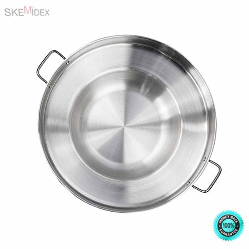 SKEMiDEX--- 23'' Round Stainless Steel Concave Comal Pozo Griddle Taco Grill Fry Pan Wok Cook Stainless Steel Material / Acero Inoxidable Cazo para carnitas or any Outdoor Dish Outdoors cooking wok. by SKEMiDEX