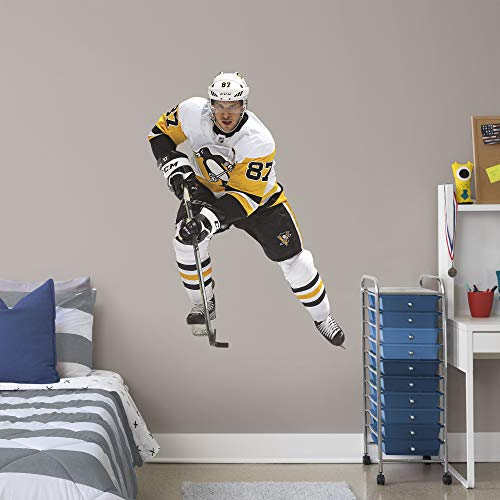 FATHEAD NHL Pittsburgh Penguins Sidney Crosby Officially Licensed Sidney Crosby Removeable Wall Decal, Multicolor, Giant ()