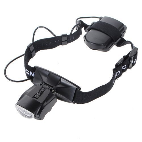 Rightwell LED Illuminated Hands Free Head Magnifier Visor 1.0X to 3.5X Zoom with 5 Detachable Lenses - Head Mounted Lighted Magnifying Glasses for Reading, Jewellery Loupe, Watch and Electronic Repair