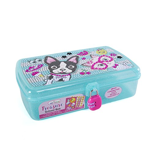 Hot Focus Treasure School Box with Lock – Best Pals Girls Pencil Case Box Includes Pencils, Notepad and Stickers by Hot Focus