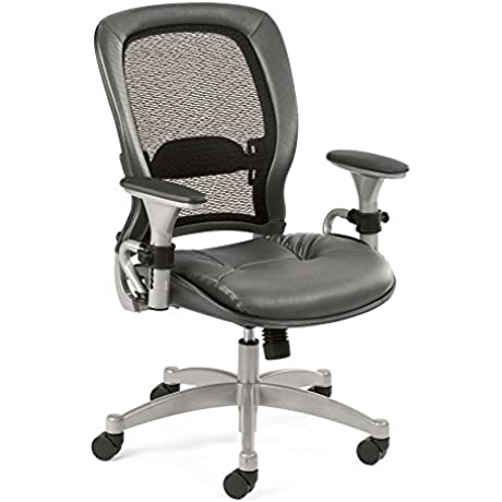 Space Series Matrex Mesh Back Task Chair With Leather Seat Dimensions 27 75 W X 27 D X 39 25 44 25 H Gray Leather Seat Matrix Back Platinum Finish