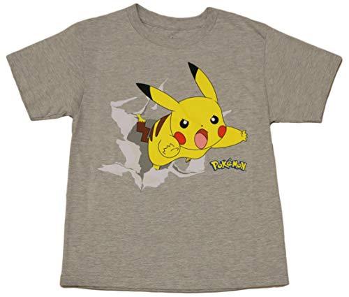 Pokemon Boys' Pikachu Pika Burst Tee XS(4/5) Heather Gray