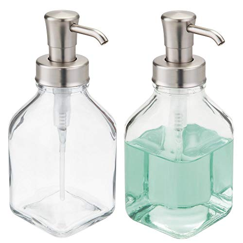 mDesign Square Glass Refillable Liquid Soap Dispenser Pump Bottle for Bathroom Vanity Countertop, Kitchen Sink - Holds Hand Soap, Dish Soap, Hand Sanitizer, Essential Oils - 2 Pack - Clear/Brushed