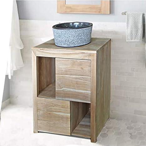 Tayasia Conjunto Mueble de baño Madera de teka y Lavabo de ...