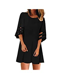 KpopBaby Dress for Women, Women's O Neck Mesh Panel Blouse 3/4 Bell Sleeve Loose Top Shirt 2019 Summer