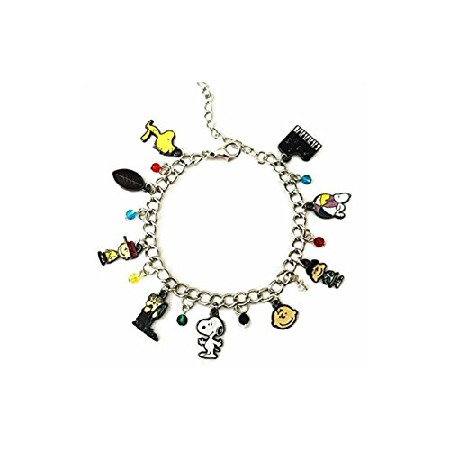Snoopy & Friends Peanuts Assorted Metal Charms Silvertone BRACELET -