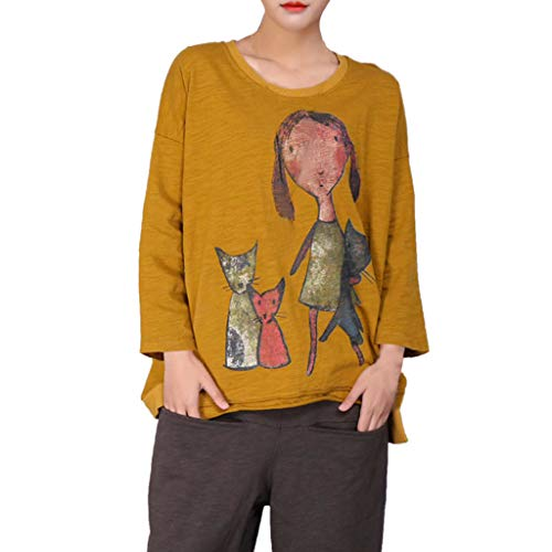 One promise Women Character Cartoon Printed Blouse Plus Size Casual Long Sleeve Tops Blouse Yellow