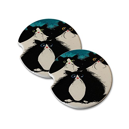 Art Coon Maine Cat - Natural Sandstone Car Drink Coasters (set of 2) - Whacky Tuxedo Maine Coon Kitties Abstract Cat Art by Denise Every