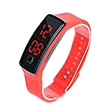 Kids Watches Childrens Boys Girls Sports Digital Fashion LED Light Red Blue Pink Wrist Watches Teenage Junior Silicone Multiple Functions Watch (Color : Red)