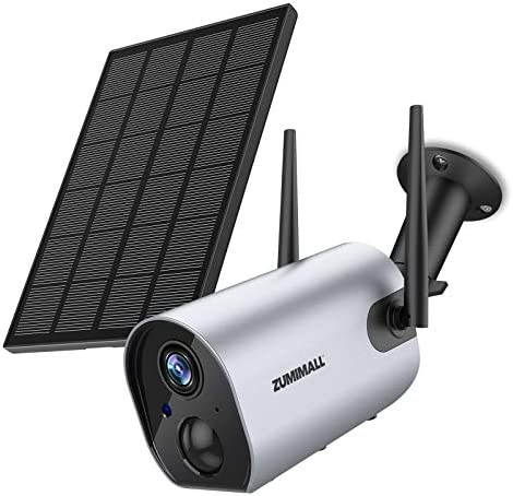 Wireless Security Camera Outdoor, Zumimall Solar Powered Surveillance Camera, 1080P Outdoor WiFi Security Camera, Night Vision, Two Way Audio, PIR Motion Detection, IP65 Waterproof