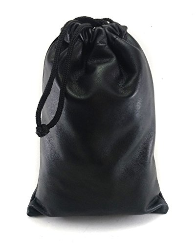Chalk Factory Multiple use Lambskin Leather Pouch with Drawstrings: (Black, 23 cm X 31 - Drawstring Lambskin