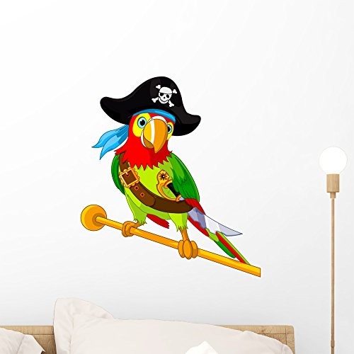 Pirate Parrot Wall Decal by Wallmonkeys Peel and Stick Graphic (18 in H x 16 in W) WM159254