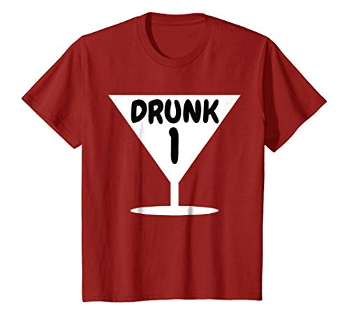 Kids Funny Drunk 1 Party Thing Halloween Costume T-shirt 4 Cranberry for $<!--$16.91-->