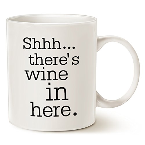 Funny Christmas Gifts Coffee Mug - Shhh...there's wine in here - Unique Friend and Family Gifts Ceramic Cup White, 11 Oz by LaTazas