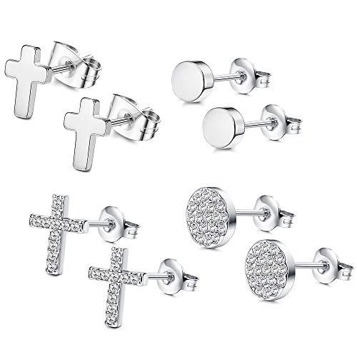FIBO STEEL 4 Pairs CZ Stud Earrings for Women Girls Dainty Cross tragus Cartilage Daith Earrings S