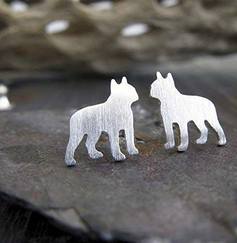 Boston Terrier stud earrings. Brushed sterling silver tiny dog posts. Handmade in the USA.