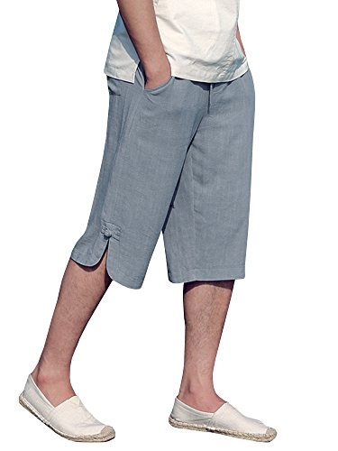 EastLife Mens Linen Cotton Shorts Summer Casual Beach Short Pants with ()