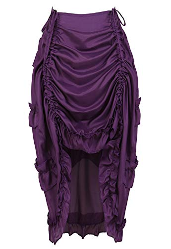 Women's Steampunk Skirt Ruffle High Low Outfits Gothic Plus Size Pirate Dressing Purple XL/2XL
