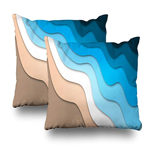 Pakaku Set of 2 Decorative Pillow Case Throw Pillows Covers for Couch/Bed 18 x 18 inch, Tropical Beach Ocean Abstract Style Home Sofa Cushion Cover Pillowcase Gift Bed Car Living Home