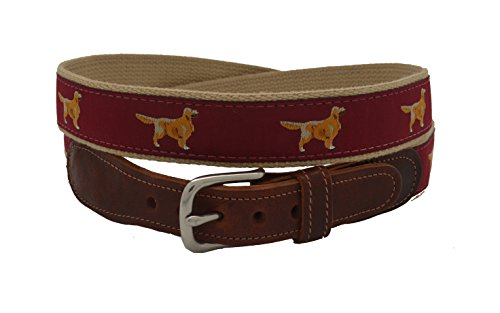 Preston Leather Men's Golden Retriever Ribbon Belt Size (Golden Retriever Belt)