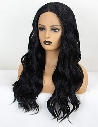 Persephone Soft Black Lace Front Wig Wavy Middle Part #1B Wavy Synthetic Wigs for Black Women Glueless Body Wave Lace Black Wig 20 Inches Heat Resistant (Wigs Black Front Lace)