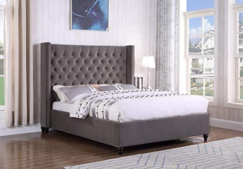 - Best Master Furniture T1920 Holland Tufted Platform Bed, Queen Grey