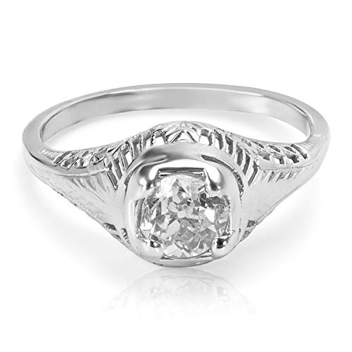 Estate Old Miners Diamond Engagement Ring in 18KT White Gold 0.60 ctw ()