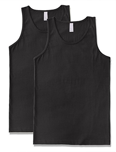Men's Premium Basic Solid Tank Top Jersey Casual Shirts 2XL Black X 2 by JD Apparel