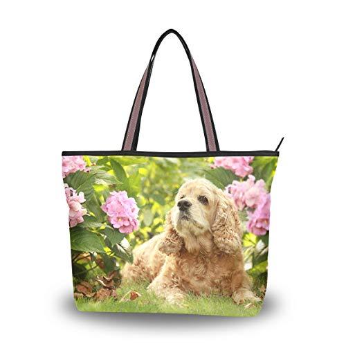 My Daily Women Tote Shoulder Bag English Cocker Spaniel Dog Flower Handbag Medium
