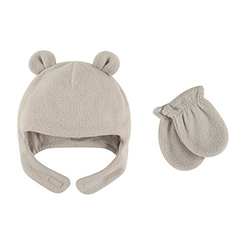 Luvable Friends Baby Infant Fleece Bear Hat and Mitten Set, Light Gray, 6-12 Months