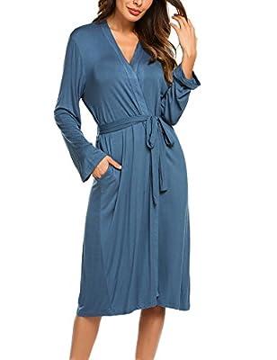 Adoeve Women Kimono Robe Long Sleeve Nightwear Solid Sleepwear Nightgown Spa Bathrobe with Pockets and Belt S-XXL