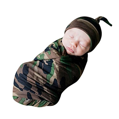 Dreamyth 2Pcs New Newborn Infant Baby Swaddle Blanket Sleeping Swaddle Muslin Wrap+Headbands (Camouflage)