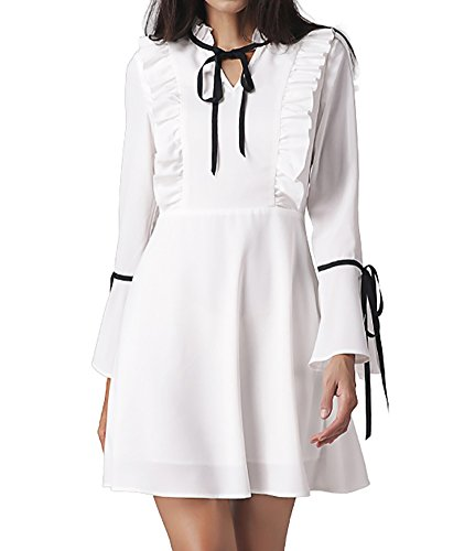 Meelino Women New Fashion Stand Collar Ruffle Trumpet Long Sleeve Pleated A-line Slim Fit Dress for Causal Formal Party