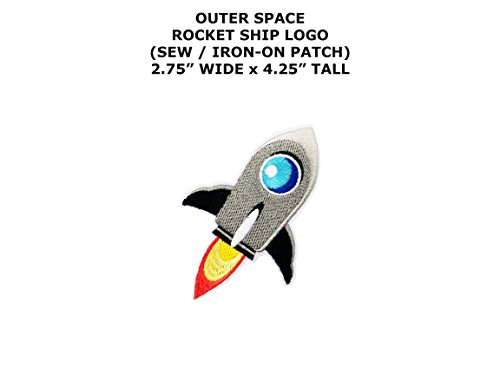 Rocket Applique (Rocket Ship Outer Space DIY Embroidered Sew or Iron-on Applique Patch Outlander Gear)