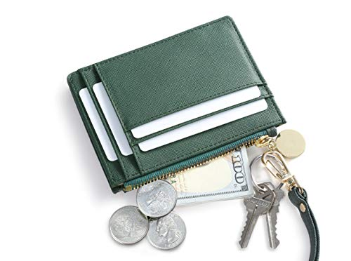 SERMAN BRANDS Slim Wristlet Card Case Holder Small RFID Blocking Wallet Change Purse for Women Keychain - Removable Wristlet Strap (Velvet Emerald CH)