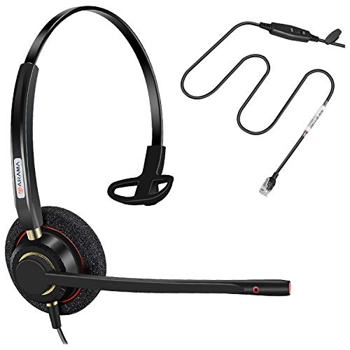 Arama Telephone RJ9 Headset w/Noise Canceling Mic Corded Office Phone Headset for Mitel Avaya Allworx Adtran Alcatel Lucent AltiGen Digium InterTel Plantronics MiVoice Desk Phone (A800SM)