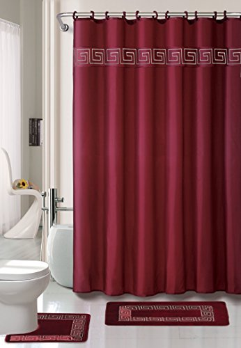 Kashi Home 15 Piece Shower Curtain Set, Includes Curtain, Hooks and 2 Rugs, 70'' x 70'' Greek Key Geometric Design Series in Burgundy