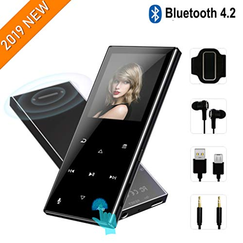MP3 Player with Bluetooth 4.2-2019 New Updated Model,8GB HiFi Lossless Mp3 Player with Touch Buttons,62 Hours Playback,Support Up to 128GB,Built-in Speaker, FM Radio,Pedometer,Recording,Black (Best Hifi Speakers 2019)