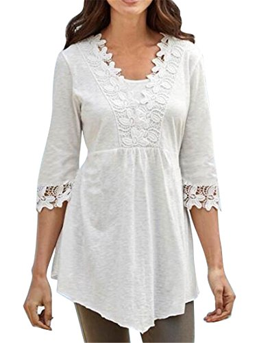 1/2 Sleeve Top (Jofemuho Womens Comfy Casual Loose Fit Lace Stitch 1/2 Sleeve Top Blouse T-Shirt White 2XL)