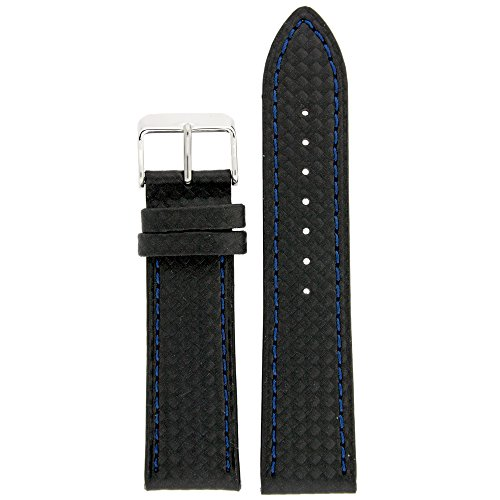 Watch Band Carbon Fiber Black Blue Stitching Water Resistant 20 Millimeter