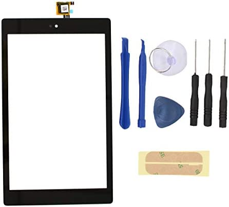 """XtremeAmazing 8"""" Inch Digitizer Touch Screen Panel Glass with Screwdriver Tool and Adhesive Replacement for Amazon Kindle Fire HD8 7th Gen 2017 Release SX034QT"""
