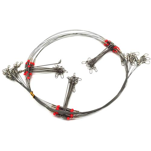 20Pcs Wire Trace Leader Rig Stainless Steel 2 Arm Fishing Rigs Tackle Lure Swivel Snaps Beads High-Strength Fishing Wire (3 arm)