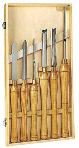 PSI Woodworking LCSIXW High Speed Steel Wood Lathe Chisel Turning Set, 6-Piece
